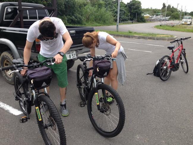 ①自転車をおろして準備OK
